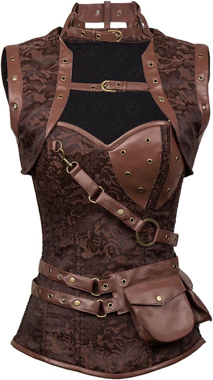 Sale item Womens Steampunk Spiral Lowest price challenge Steel Boned Corset Bu Retro Tops Vintage