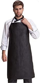 Waterproof Apron Adjustable Neck Strap Bib Kitchen Apron For Adult Cooking Working Dishwashing, Butcher, Fish, Lab,Black One Piece