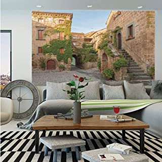 SoSung Tuscan Wall Mural,Village Houses with Colorful Flowers Outside in Burano Village Venice Italy Image,Self-Adhesive Large Wallpaper for Home Decor 83x120 inches,Ivory Green