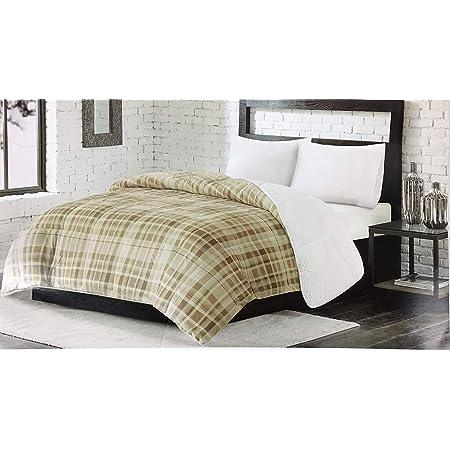 Premier Comfort Reversible Sherpa Down Alternative Plaid Comforter  FULL QUEEN
