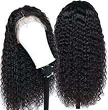 Eayon Hair Curly 13x4 Lace Front Human Hair Wigs-Glueless 130% Density Brazilian Virgin Remy Wigs with Baby Hair for Women 18inch Natural Color