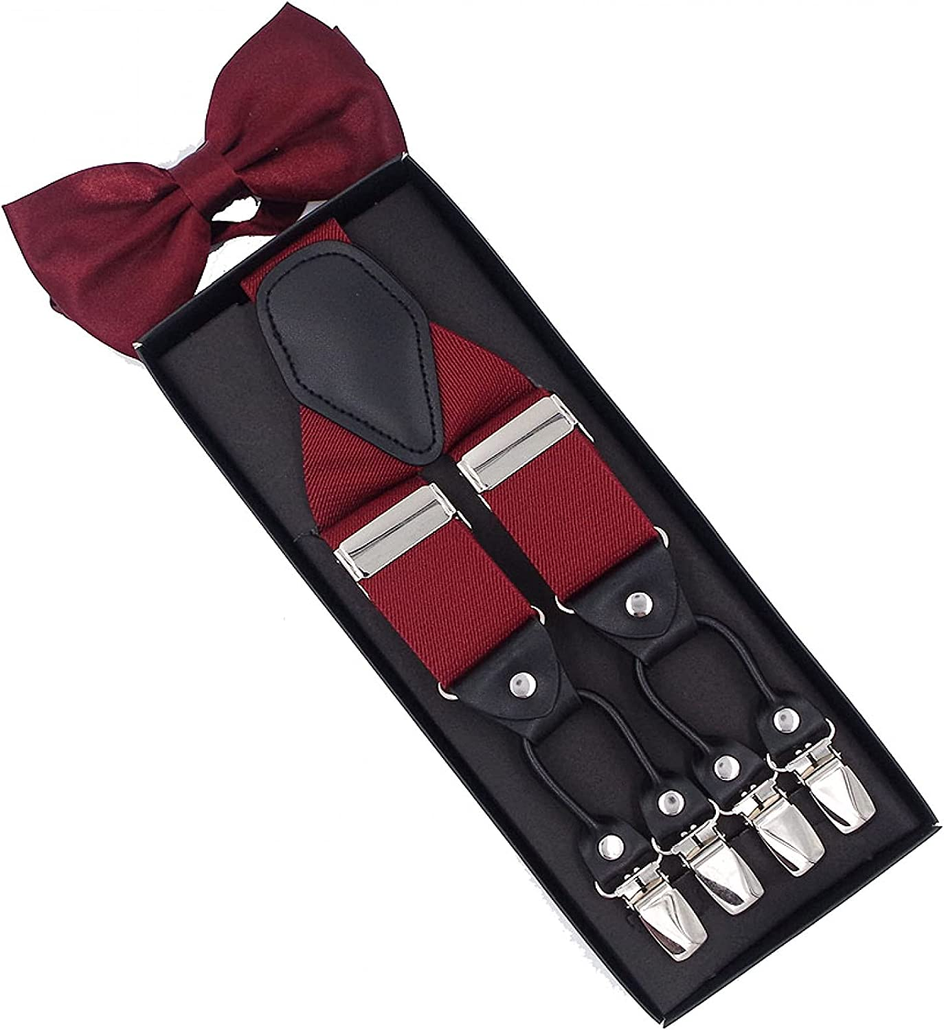 MASKUOY Suspenders Set Leather 6 Clips Braces with Bow Tie Vintage Casual Trousers Strap Father/Husband's Gift
