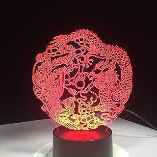 Optical Illusion Night Lamp,Dragon PhoenixAncient AnimalsTouchVisual Cha,Decor LED Visual Nightlight for Kids Birthday Gifts