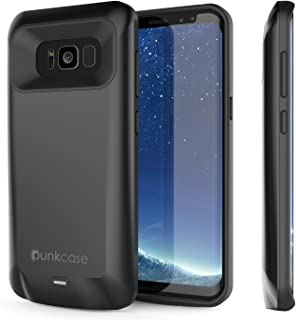 Galaxy S8 Battery Case, PunkJuice 5000mAH Fast Charging Power Bank W/Screen Protector   Integrated USB Port   IntelSwitch   Slim, Secure and Reliable   Suitable for Samsung Galaxy S8 [Black]