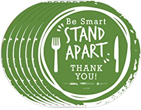 """tabbies BeSafe Messaging""""Be Smart Stand Apart"""" Knife & Fork, 6 Pack - 12"""" Round, Repositionable Vinyl UL 410 Certified Ant..."""