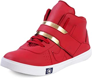 Shoe Island ® Popular Icon-X ™ Designer Leatherette High Ankle Length Velcro Red Shinning Gold Casual Dance Sneakers for Men