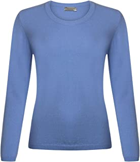 Great & British Knitwear Ladies CL201 100% Extrafine Lambswool Round Neck Pullover. Made in Scotland-Olympian-Medium