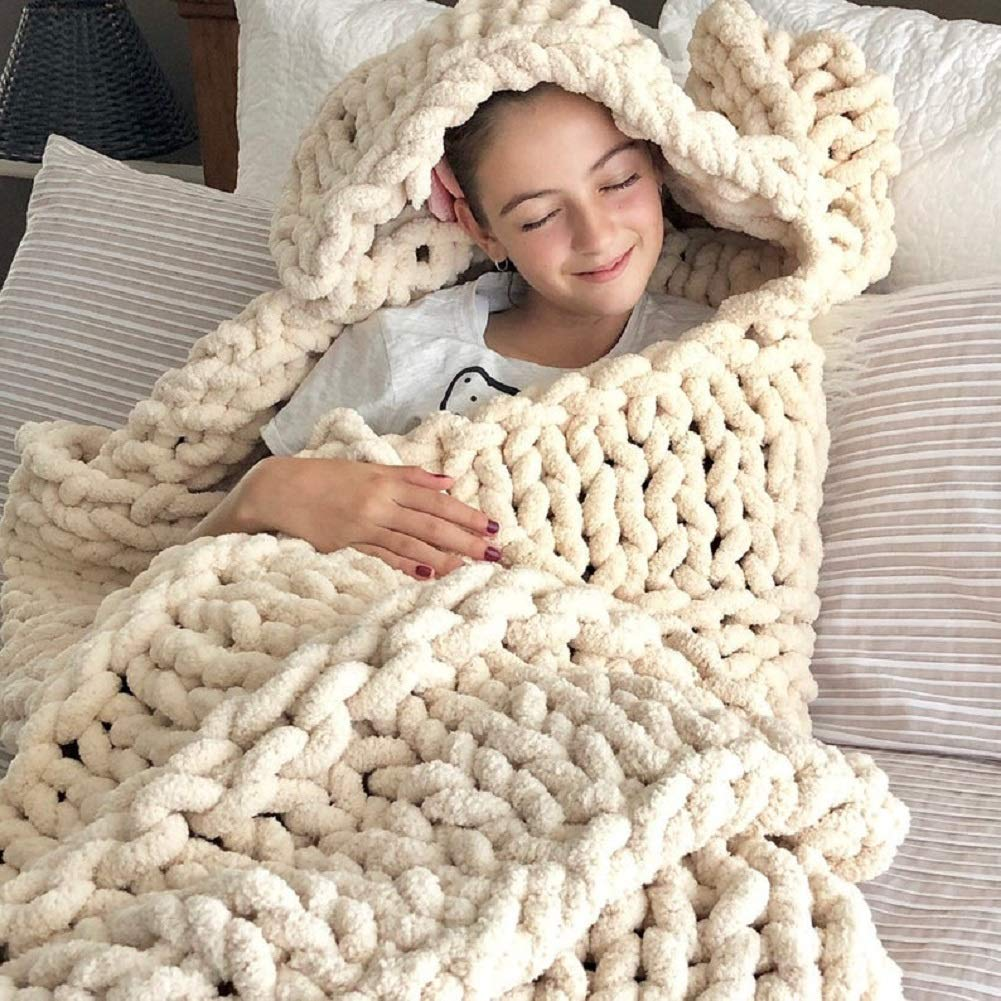 Soft Chenille Chunky Knitted Blanket Thick Yarn Bulky Throw Bed Sofa Cover Mat