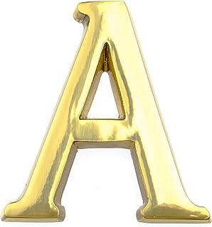 HUBER huisnummer A van messing 10 cm I huisnummers voor huis & deur - huisnummerbordjes in edele messing 3D design, glanzend