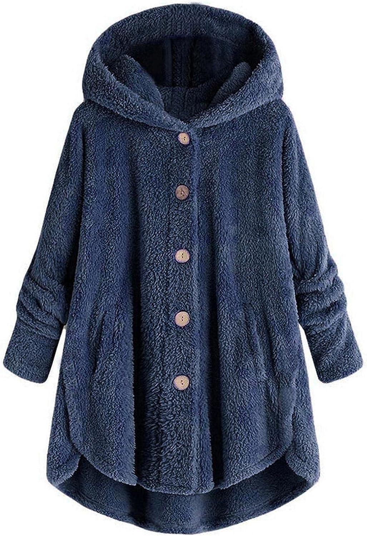 Women's Fitted Wool Coat Winter Plus Size Button Plush Trench Hooded Loose Windbreaker Fluffy Wool Outwear Jacket Tops