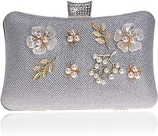 Clutch Handbag Dinner Beading Flowers at Night Crossbody Bag Wedding Party Prom Wallet Silver Shoulder Bags Pearl Rhinestone Women's Gold Pocket (20×6×12cm)