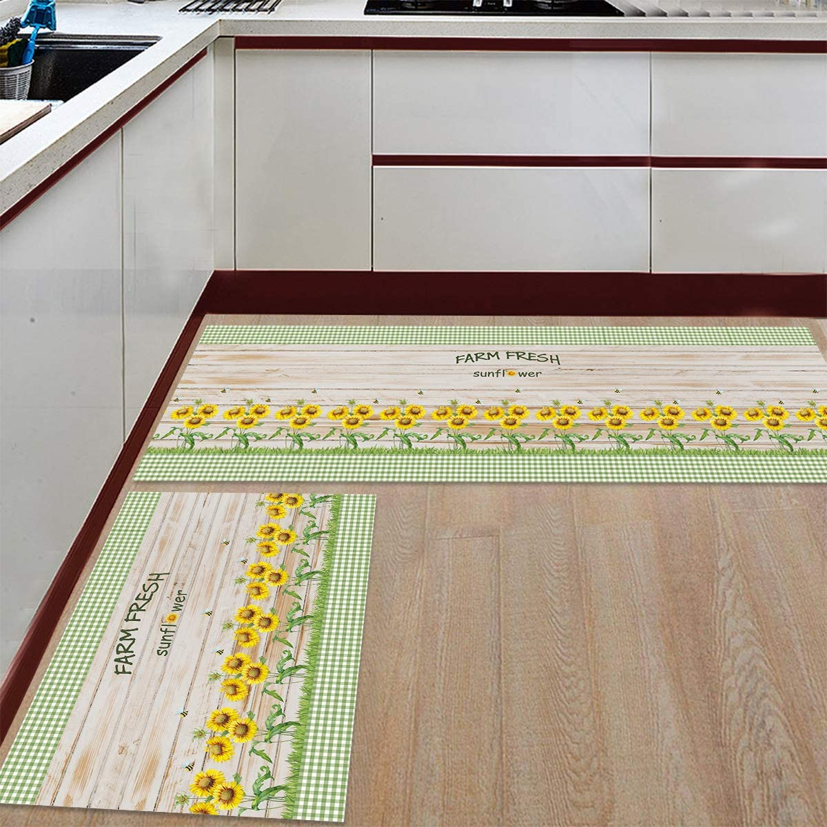 Kitchen Mat and Rugs Set Max 55% Max 68% OFF OFF of 2 on Bee Fresh Farm G Sunflower