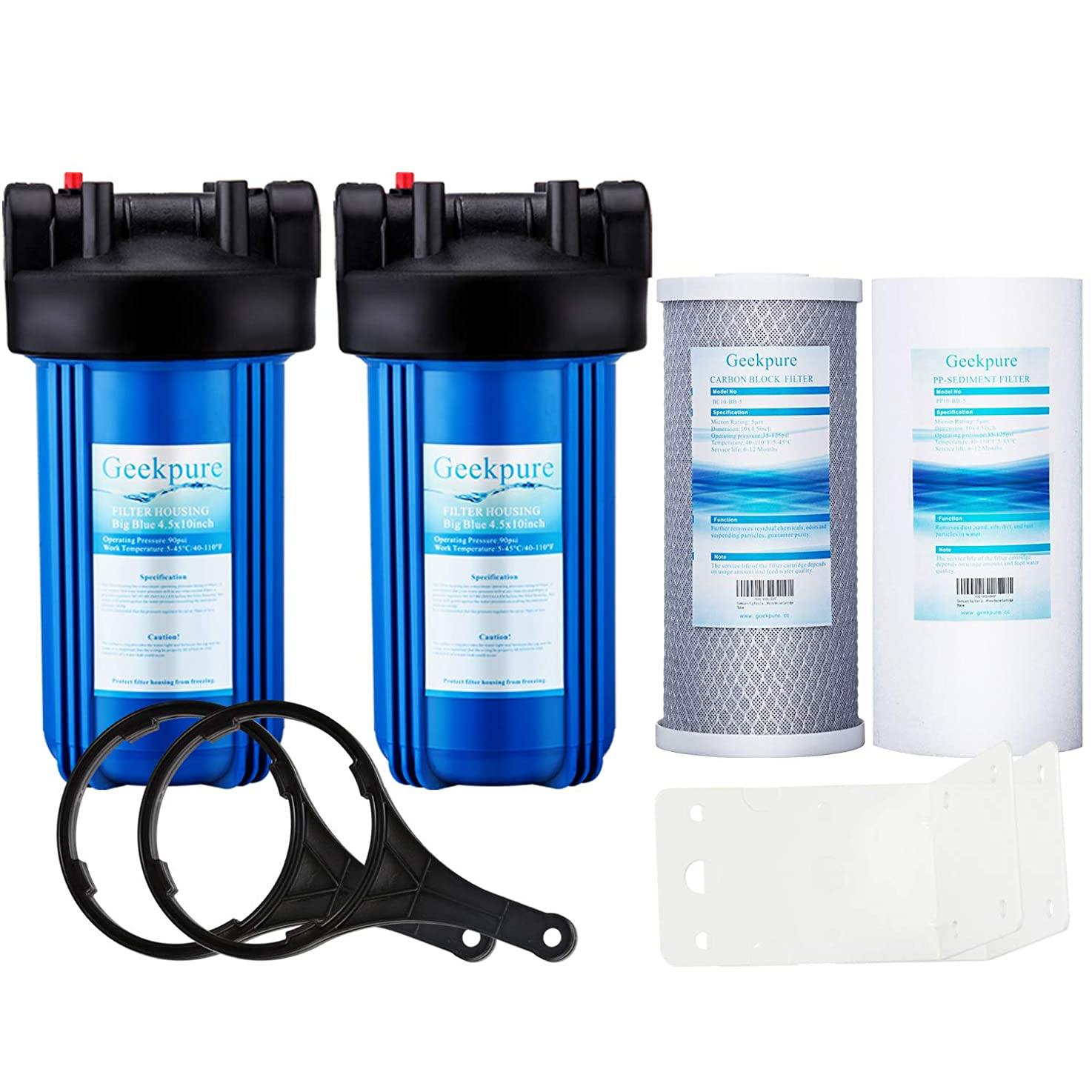 Geekpure 2 Stage Whole House Water Filter System w/ 10-Inch Big Blue Housing-with 4.5