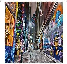 BST Colorful Graffiti Shower Curtain, Street Graffiti Abstract Art Creative Street View Colorful Home Bathroom Curtains De...