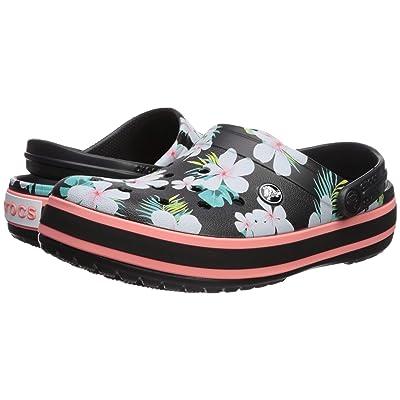 Crocs Crocband Seasonal Graphic Clog (Black/Floral) Clog/Mule Shoes