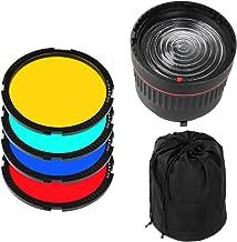Fotga 10x Focus Bowens Mount Lens Studio Light Condenser Mount Adjustable + 4 Colorful Filters for Flash LED Light Photo Studio Photography