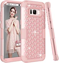 Galaxy S8 Case, UZER 3in1 Shockproof Luxury Glitter Sparkle 3D Diamond Studded Bling Rhinestone Hard PC Soft Silicone Combo Hybrid Impact Defender Protective Case Cover for Samsung Galaxy S8