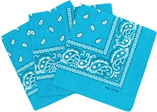 Laciteinterdite Set of 3 Paisley Bandanas for Men and Women, 57 x 57 cm One Size turquoise