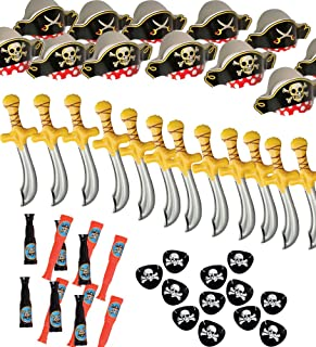 Pirate Party Set – Pirate Birthday Party – Pirate Supplies - 12 Pirate Hats, Patches, Swords, Telescopes – by Funny Party Hats