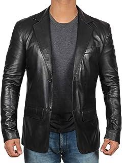 Black Leather Blazer for Men - Real Lambskin Brown Leather Mens Blazer