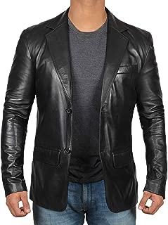 Black Leather Blazer for Men - Genuine Lambskin Brown Leather Mens Blazer