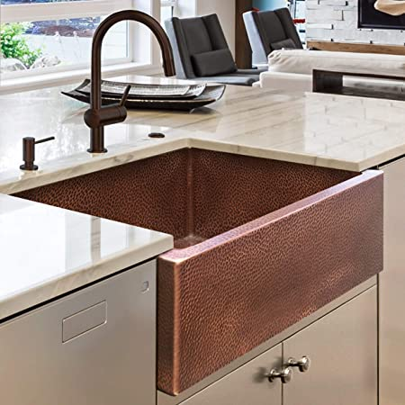 Luxury HEAVY-GAUGE (12-Gauge) 30-Inch Modern Copper Farmhouse Sink (44 LBS Pure Copper), Apron Front, Single Bowl, Antique Copper Finish, Grid and Flange Included, FSW1104 by Fossil Blu