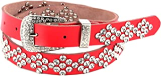 HZMAN Wmens Fashion Studded Western Crystal Berry Rhinestone Bling Cowgirl Leather Belt (White)