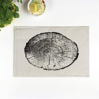 rouihot Set of 6 Placemats Slice Tree Ring Log Wood Trunk Black and White Non-Slip Doily Place Mat for Dining Kitchen Table