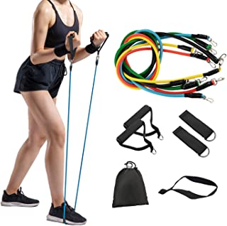 QUALITELL 11Pcs Resistance Band Set, Portable Exercise Bands with Door Anchor,2 Foam Handle,2 Metal Foot Ring & Carrying C...