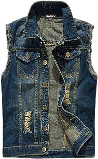 NASKY-Men's Fit Retro Ripped Denim Vest Sleeveless Jean Vest and Jacket