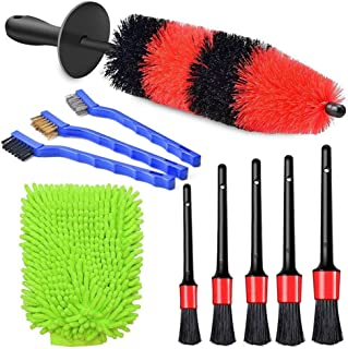 Janememory 10pcs Car Wheel Brush Set, Car Detailing Brush, Soft Tire Brushes, Automotive Cleaning Wheels, Air Vents, Leath...