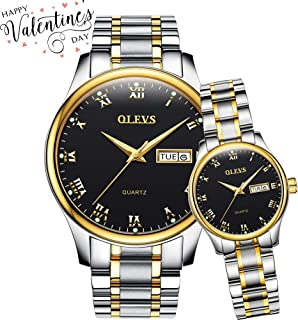 OLEVS Valentines Couple Pair Quartz Watches Luminous Calendar Date Window 3ATM Waterproof Casual Stainless Steel Band, His and Hers Wristwatch for Men Women Watches Couples Gift Set of 2