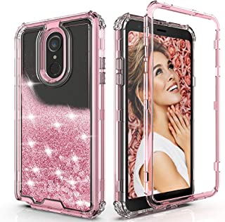 QQcase LG Stylo 4 Case, LG Stylo 4 Plus Case, LG Q Stylus Case,Three Layer Hard Clear Glitter Sparkle 3D Flowing Liquid Heavy Duty Sturdy Shockproof Protective Bling Case for LG Stylo 4 Pink