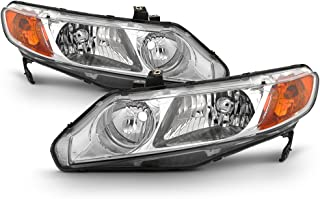 For 2006-11 Honda Civic 4DRs Amber Corner Headlights Assembly Chrome Housing Clear Lens Full Set