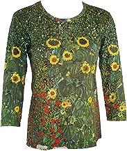Breeke - Farm Garden, 3/4 Sleeve, Scoop Neck, Hand Printed Woman's Top