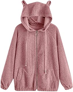 GDJGTA Sweater for Womens Casual Solid Color Long Sleeve Bear Ears Zip Pocket Hooded Jacket Coat