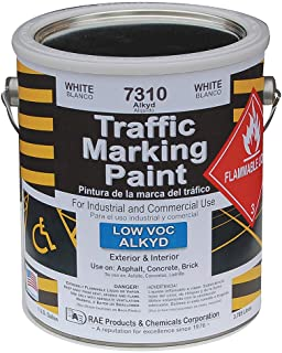 RAE 7310 - WHITE ALKYD TRAFFIC & ZONE MARKING PAINT – professional grade road & parking lot paint for stencils, parking stall, crosswalks, stop bars, and zone painting or marking – Solvent-based for extra durable wear resistance for heavy traffic