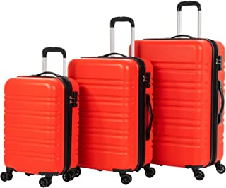 "Murtisol Travel 3 Pieces Expandable ABS Luggage Sets TSA Lightweight Durable Spinner Suitcase 20"" 24"" 28"", 3PCS Orange Red"