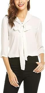 Grabsa Women's Casual Half Sleeve Shirts Bow Tie Neck Chiffon Office Work Blouse Tops
