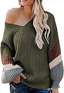 LENXH Women's Contrast V-Neck Sweater Long-Sleeved Large Size Pullover Top Stitching Sweater Autumn and Winter Sweater