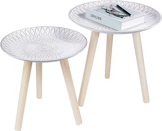Beistelltische 2-Set – Runde Couchtische Set klein – Runder Dreibeiner – Holz Sofatisch – Satztische fürs Wohnzimmer Schlafzimmer Balkon – shabby…