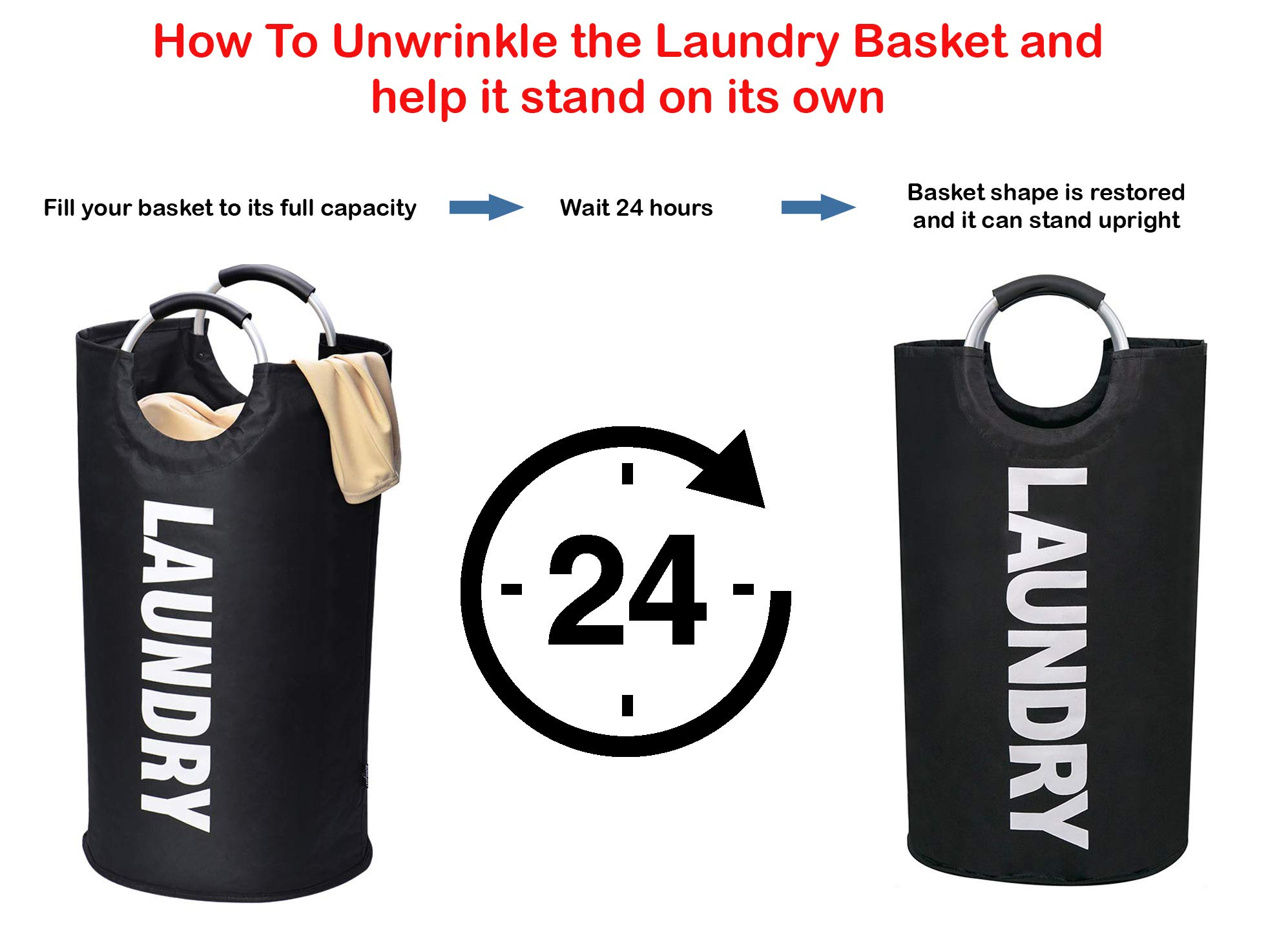 JIANUS Laundry Basket - Collapsible Foldable Clothes Bag Waterproof Portable 82L Large Fabric Laundry Hamper Bags 6 Colors Durable Handles for Bathroom Black Kids Room