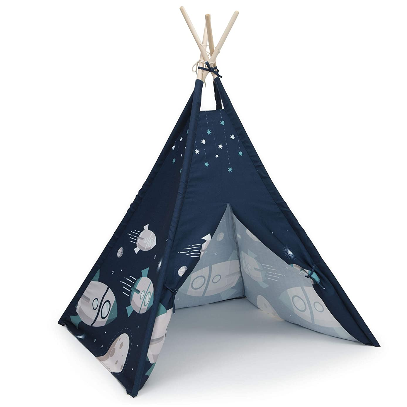 Delta Children Teepee Play Tent for Kids | Cotton Canvas with Wooden Poles, Outer Space Adventures