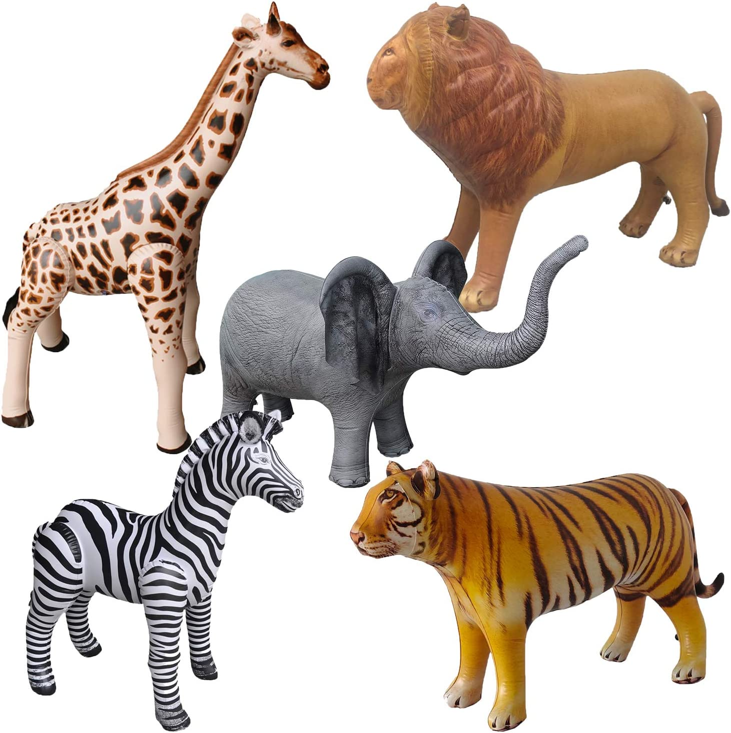 Airniture Jet Creations Safari Inflatable Plush Stuffed Animal 5 Pack Giraffe Zebra Elephant Lion Tiger for Pool, Party Decoration, Size up to 40 inch, AIR-GZELT5, 36, Multi
