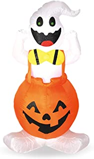 Joiedomi Halloween 4 FT Inflatable Ghost in Pumpkin Overall with Build-in LEDs Blow Up Inflatables for Halloween Party Indoor, Outdoor, Yard, Garden, Lawn Decorations