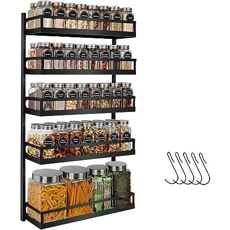 X-cosrack Étagère à épices murale à 5 niveaux réglables en hauteur, pour porte de placard de cuisine, support à suspendre avec crochets, noir