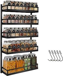 X-cosrack Étagère à épices murale à 5 niveaux réglables en hauteur, pour porte de placard de cuisine, support à suspendre ...