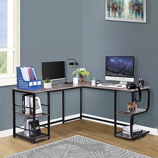 CosHall Schreibtisch, Computertisch,l-förmiger Eckschreibtisch, Bürotisch, Großer Gaming Schreibtisch, Bürotisch, Ecktisch Arbeitstisch, pc Laptop...