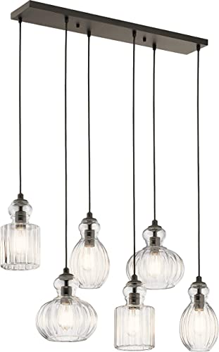 wholesale Kichler 43950OZ Transitional Six Light Linear Chandelier from online sale Riviera Collection in outlet online sale Bronze/Dark Finish, 35.50 inches online