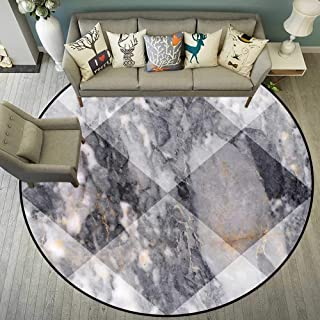 Round Floor mat Under Office Chair Round Indoor Floor mat Entrance Circle Floor mat for Office Chair Wood Floor Circle Floor mat Office Round mat for Living Room Pattern 5'3